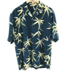 Tommy Bahama Navy Blue Silk Hawaiian Shirt